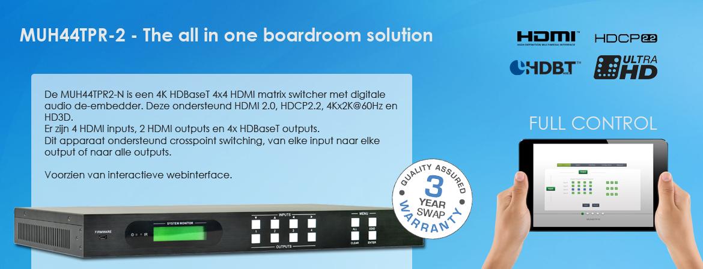 MUH44TPR2 4x4 HDBaseT matrix switcher met 4K 60Hz ondersteuning. HDCP 2.2 compliant