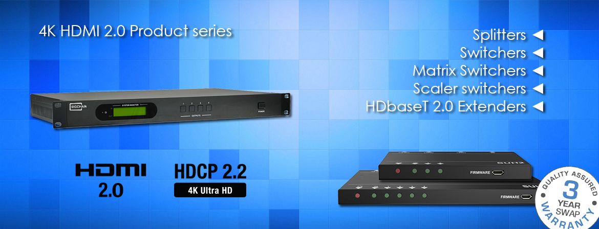 Digichain Electronics 4K@60Hz 4:4:$ HDMI 2.0 / HDCP 2.2 product series