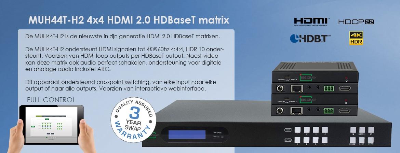 MUH44T-H2 4x4 HDMI 2.0 HDBaseT 2.0 matrix switcher met 4K 60Hz ondersteuning. HDCP 2.2 compliant
